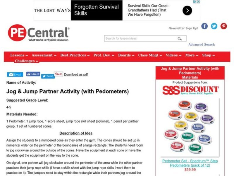 Jog & Jump Partner Activity (with Digi-Walker Pedometers) Lesson Plan