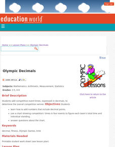 Olympic Decimals Lesson Plan