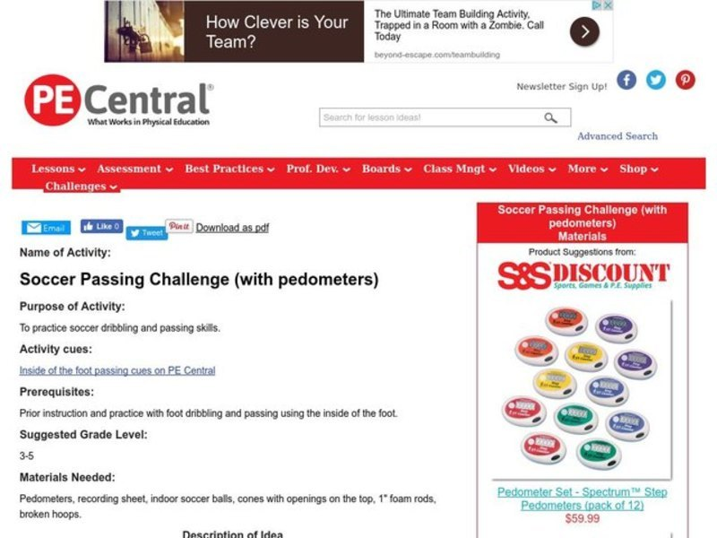 Soccer Passing Challenge (with Digi-walker pedometers) Lesson Plan