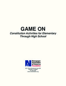 Game On: Constitution Activities for Elementary through High School Activities & Project