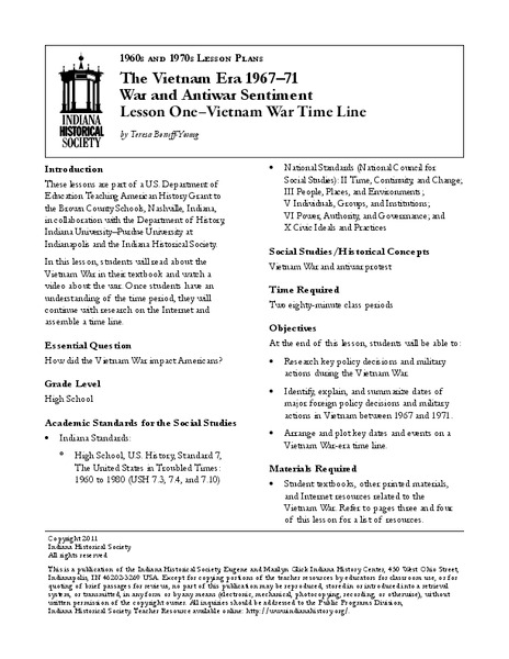 Lesson One – Vietnam War Time Line Lesson Plan
