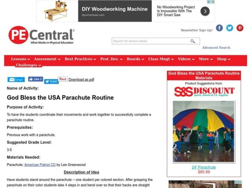 God Bless the USA Parachute Routine Lesson Plan
