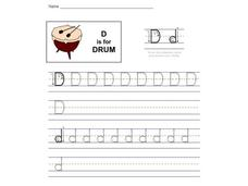 Handwriting: The Letter D Worksheet