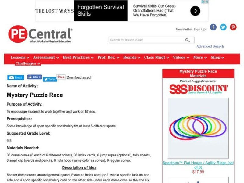 Mystery Puzzle Race Lesson Plan