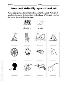 Hear and Write Digraphs ch and wh Worksheet