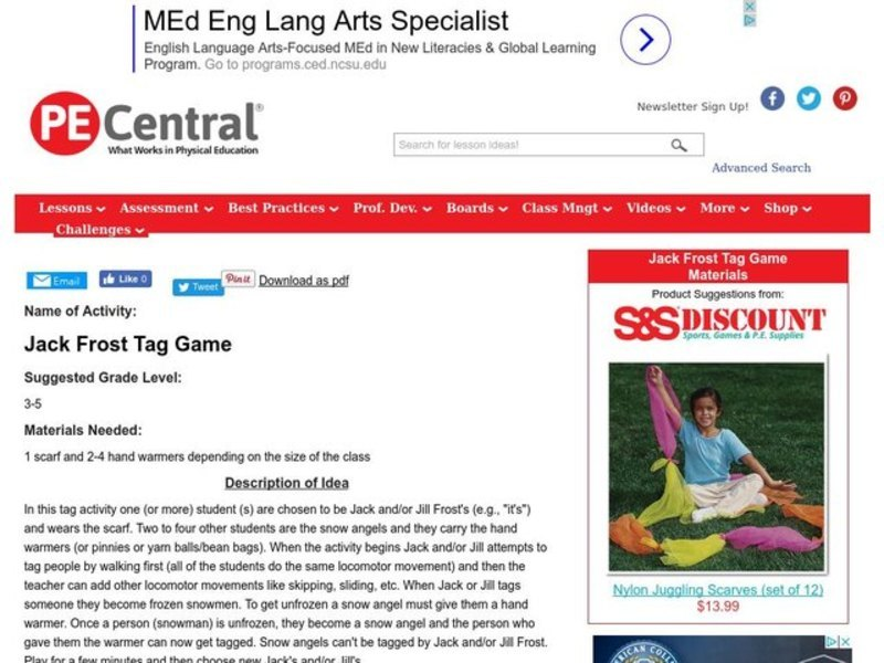 Jack Frost Tag Game Lesson Plan