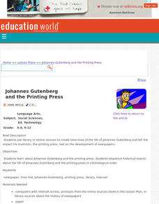Johannes Gutenberg and the Printing Press Lesson Plan