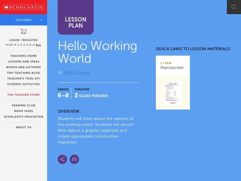 Hello Working World Lesson Plan