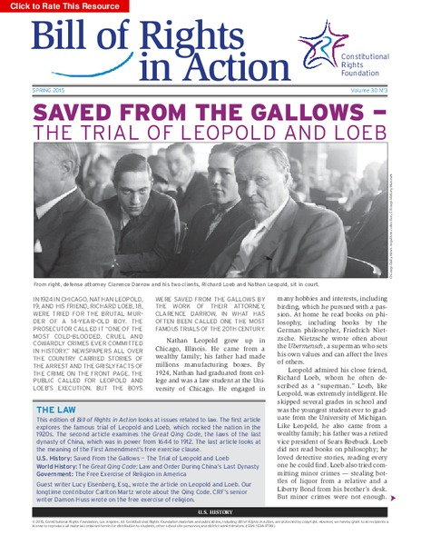 Saved from the Gallows — the Trial of Leopold and Loeb Activities & Project