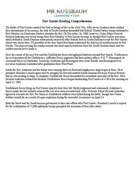 Fort Sumter Reading Prehension Worksheet For 8th 10th