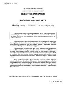 English Language Arts Examination: January 2018 Assessment