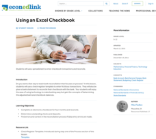 Using an Excel Checkbook Lesson Plan