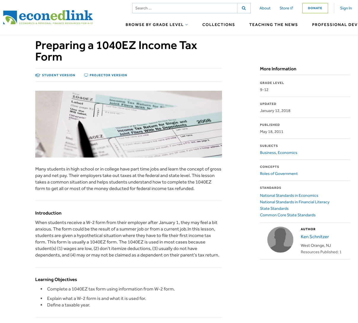 Preparing A 1040EZ Income Tax Form Lesson Plan For 9th