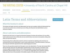 Latin Terms and Abbreviations Website