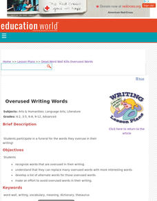 Dead Word Wall Kills Overused Words Lesson Plan