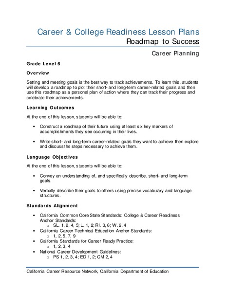 Roadmap to Success Lesson Plan
