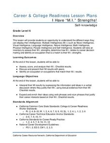 "I Have ""M.I."" Strengths! Lesson Plan"