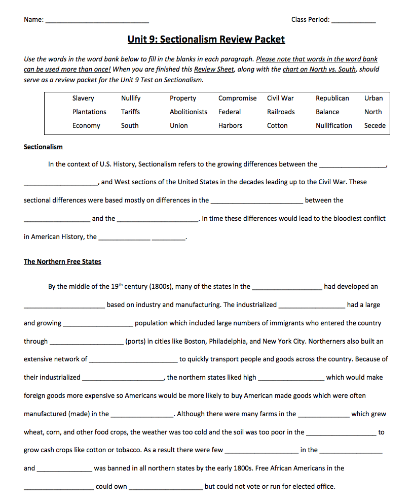 Sectionalism Review Packet Worksheet
