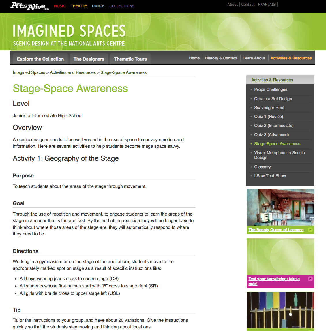 Stage-Space Awareness Activities & Project