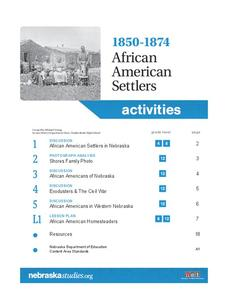 1850-1874 African American Settlers Activities & Project