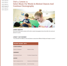 Lesson 13: Select Music For Words In Motion! Dances And Continue Choreography Lesson Plan
