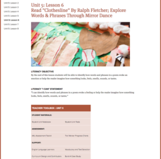 "Lesson 6: Read ""Clothesline"" By Ralph Fletcher; Explore Words and Phrases Through Mirror Dance Lesson Plan"
