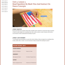 Lesson 3: Read Sparklers By Mark Vinz And Instruct On Dance Concepts Lesson Plan