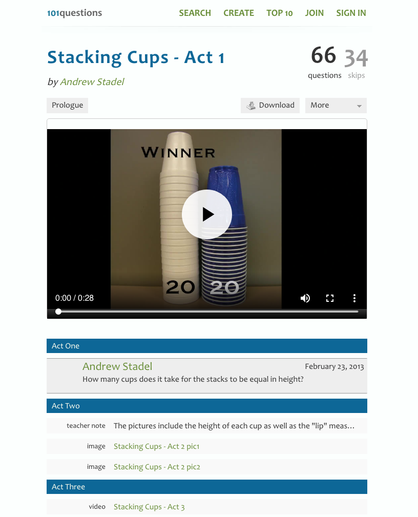 Stacking Cups Activities & Project