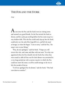 The Fox and the Stork Worksheet