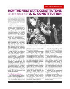 How the First State Constitutions Helped Build the U.S. Constitution Activities & Project