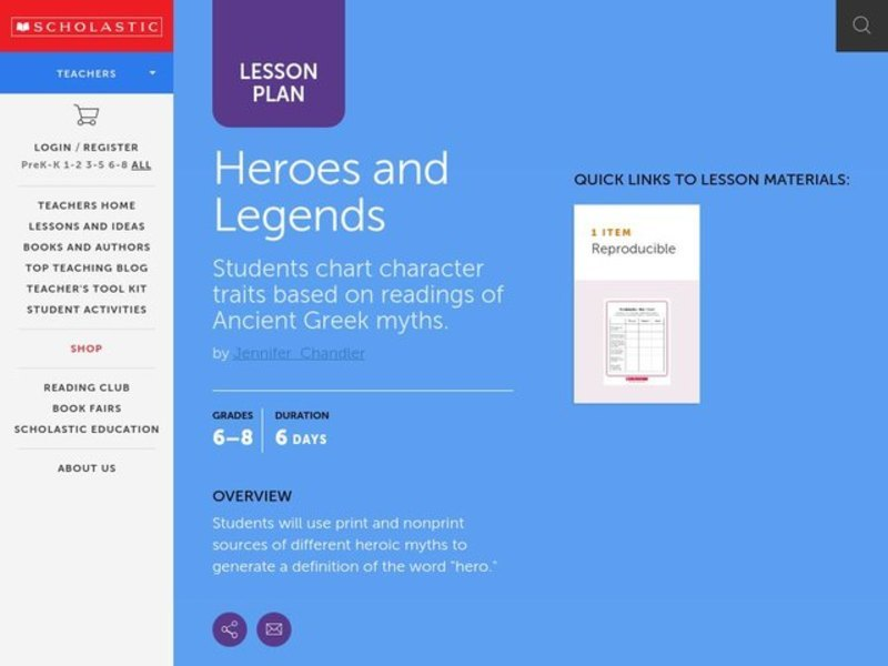 Heroes and Legends Lesson Plan