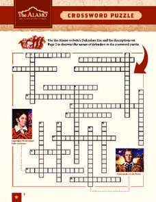 The Alamo Crossword Puzzle Worksheet
