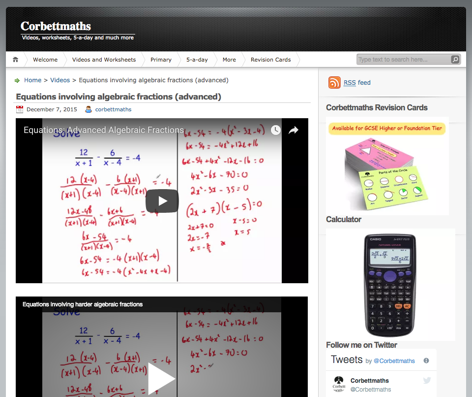Equations Involving Algebraic Fractions (Advanced) Video