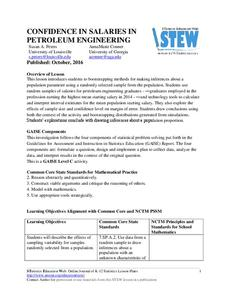 Confidence in Salaries in Petroleum Engineering Lesson Plan