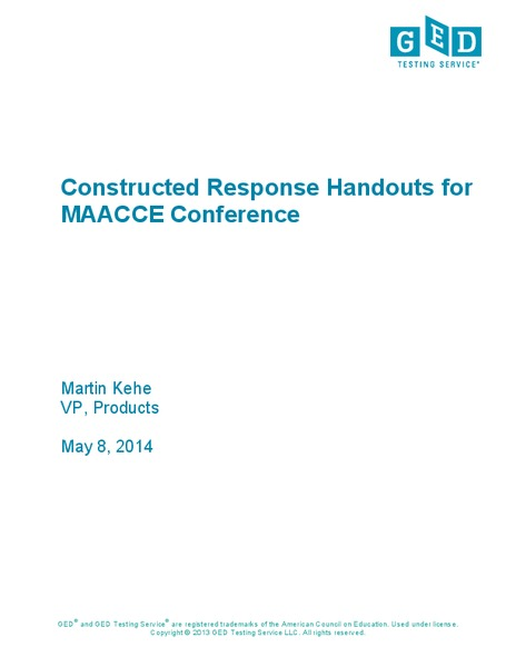 Constructed Response Workbook Lesson Plan