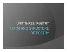 Form and Structure of Poetry Presentation