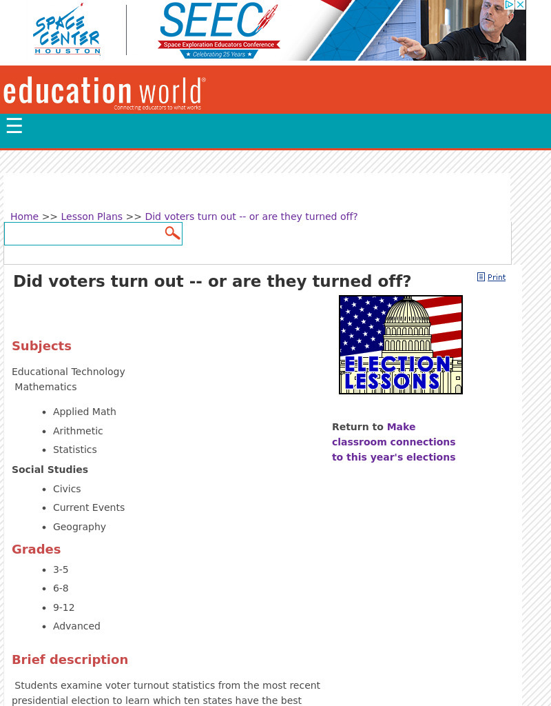 Did Voters Turn Out -- or Are They Turned Off? Lesson Plan