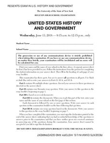 US History and Government Examination: June 2018 Assessment