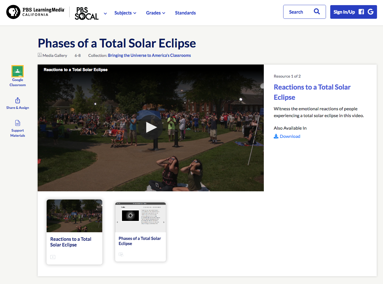 Phases of a Total Solar Eclipse Video
