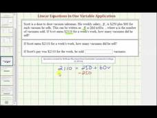 Application of a Linear Equation in One Variable - Salary Plus Commission (Example 1) Video