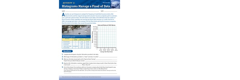 Histograms Manage A Flood Of Data Worksheet For 5th 6th