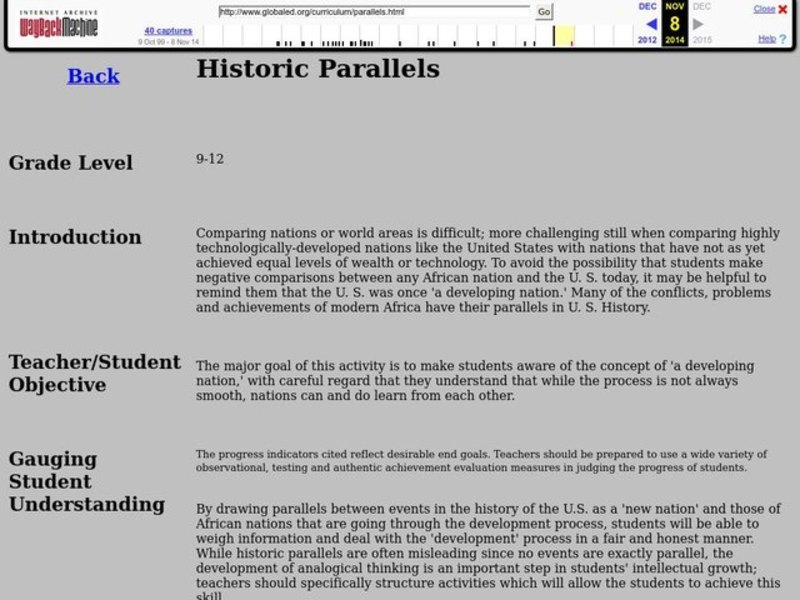 Historic Parallels Lesson Plan