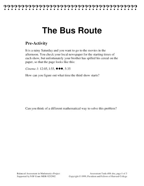 The Bus Route Assessment