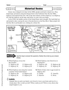 historical routes worksheet for 4th 8th grade lesson planet. Black Bedroom Furniture Sets. Home Design Ideas