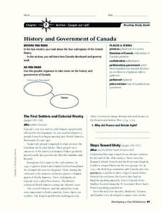 History and Government of Canada Worksheet