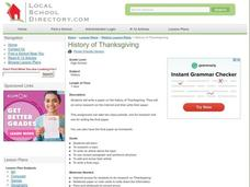 History of Thanksgiving Lesson Plan