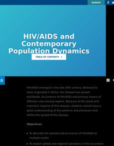 HIV/AIDS And Contemporary Population Dynamics Lesson Plan