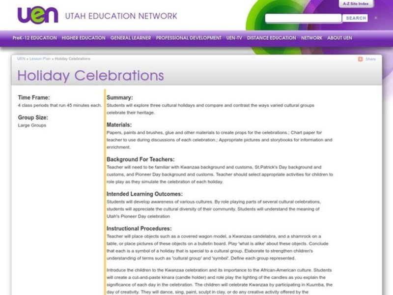 Holiday Celebrations Lesson Plan