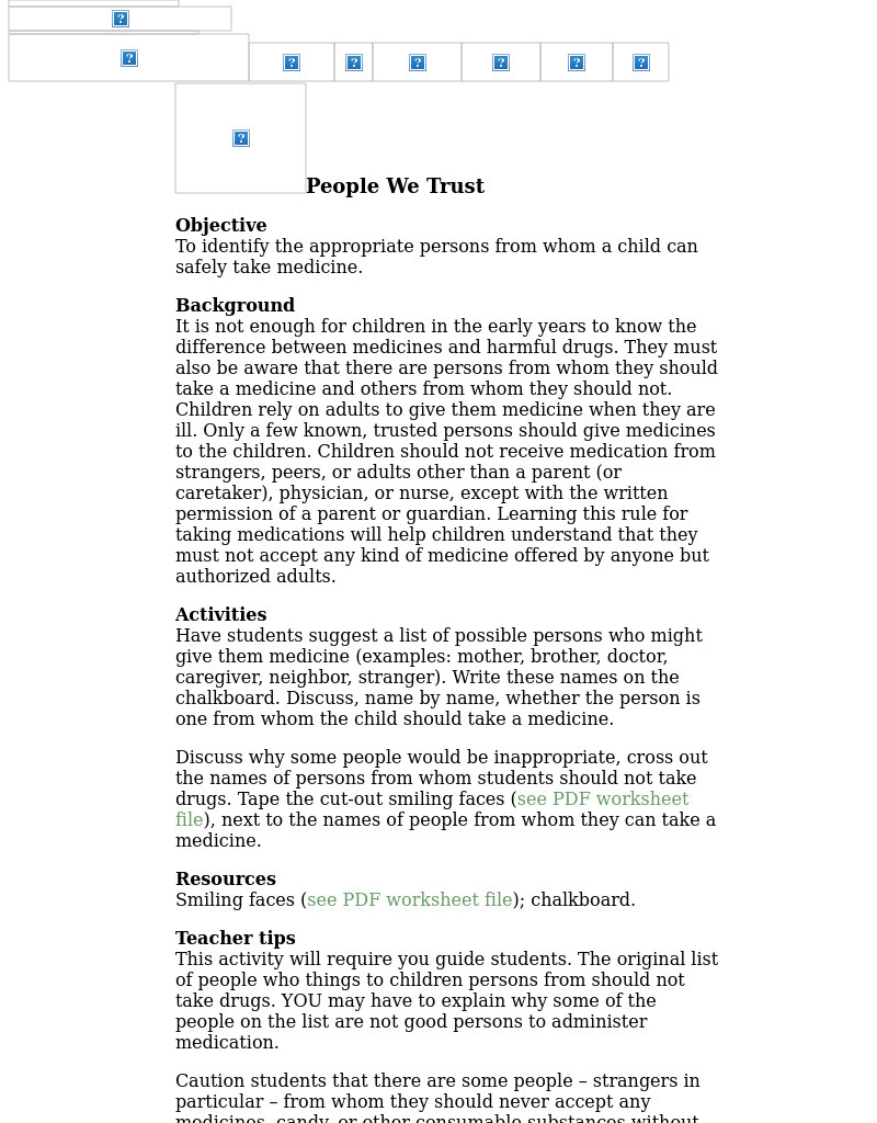 People We Trust Lesson Plan