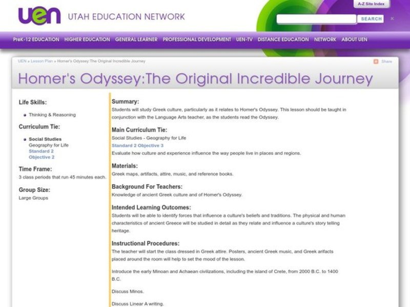 Homer's Odyssey: The Original Incredible Journey Lesson Plan